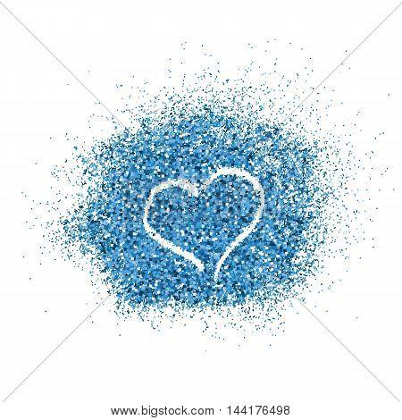 Paint glitter splash with heart on white background. Vector illustration.