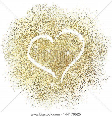 Paint heart on gold glitter on white background. Vector illustration.