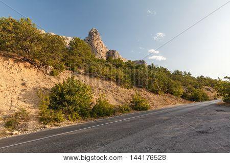 high altitude asphalt road in morning mountain