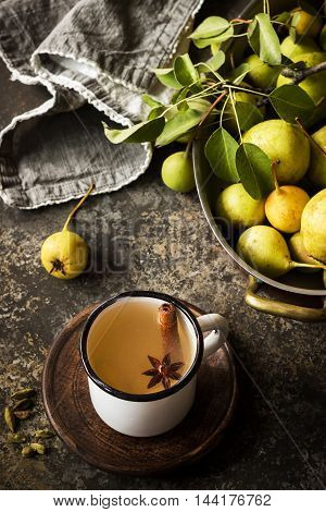 Autumn Concept. Pear Beverage In Mug And Pears On Vintage Metal Tray.