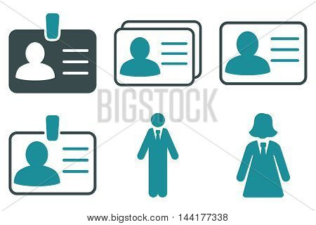 Person Account Card vector icons. Pictogram style is bicolor soft blue flat icons with rounded angles on a white background.