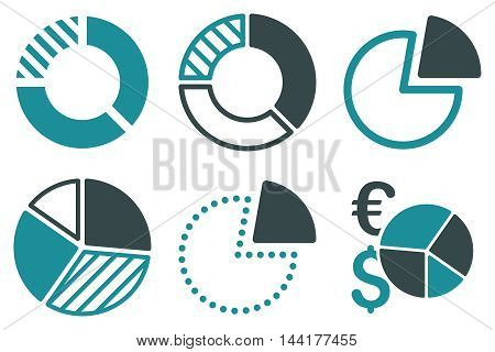 Pie Chart vector icons. Pictogram style is bicolor soft blue flat icons with rounded angles on a white background.