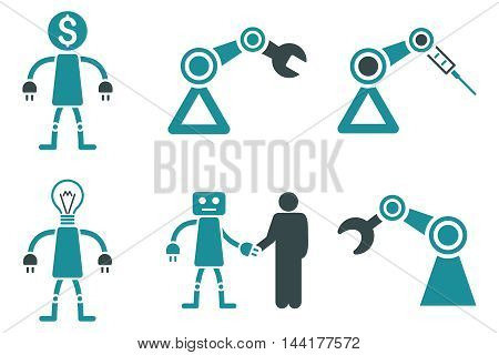 Robot vector icons. Pictogram style is bicolor soft blue flat icons with rounded angles on a white background.