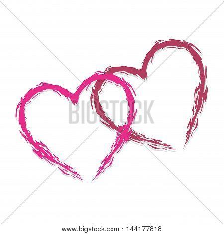two heart love romantic connection passion symbol icon design vector illustration