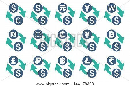 All Currency Exchange vector icons. Pictogram style is bicolor cobalt and cyan flat icons with rounded angles on a white background.
