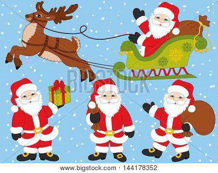 Vector Santa Claus set with reindeer, gift box, sacks and sledge