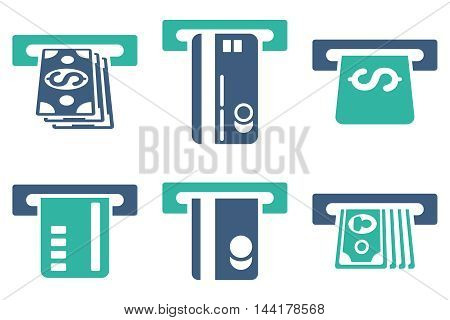 ATM Bank Cashout vector icons. Pictogram style is bicolor cobalt and cyan flat icons with rounded angles on a white background.
