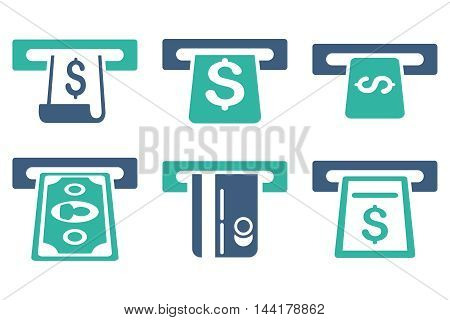 ATM Withdraw vector icons. Pictogram style is bicolor cobalt and cyan flat icons with rounded angles on a white background.