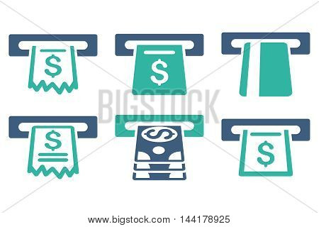 Automated Cashier vector icons. Pictogram style is bicolor cobalt and cyan flat icons with rounded angles on a white background.