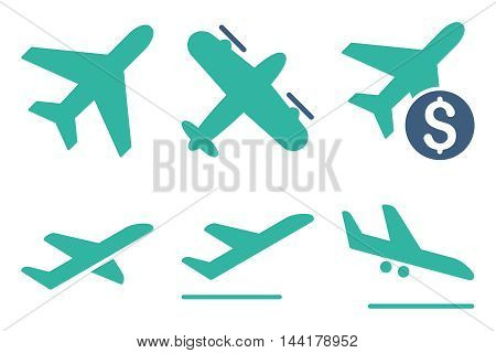 Aviation vector icons. Pictogram style is bicolor cobalt and cyan flat icons with rounded angles on a white background.