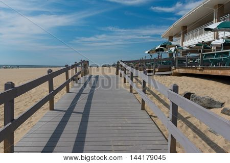 Spring Lake NJ USA -- August 25 2016 -- Handicap access ramp to the North End beach and swim club. Editorial Use Only