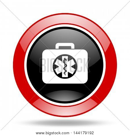 rescue kit round glossy red and black web icon