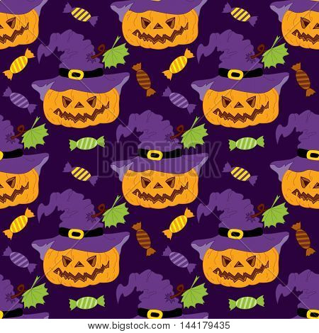 Vector Halloween seamless pattern with pumpkins and sweets