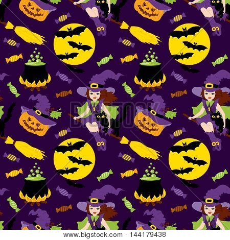 Vector Halloween seamless pattern with pumpkin, sweets, witch and the moon