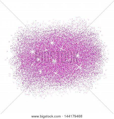 Pink glitter splash on white background. Vector illustration.