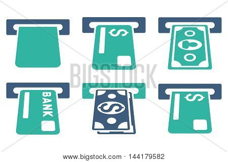 Banking ATM vector icons. Pictogram style is bicolor cobalt and cyan flat icons with rounded angles on a white background.