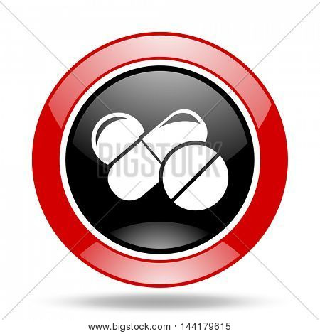 medicine round glossy red and black web icon