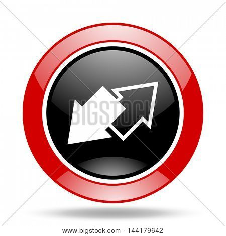 exchange round glossy red and black web icon