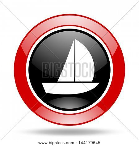 yacht round glossy red and black web icon