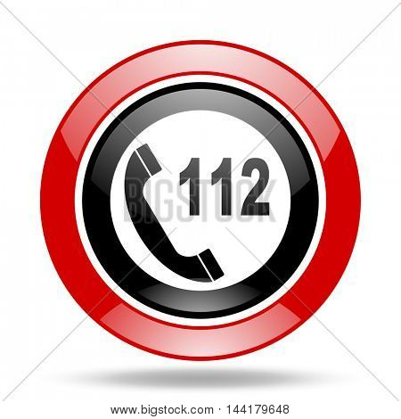 emergency call round glossy red and black web icon