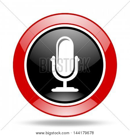 microphone round glossy red and black web icon