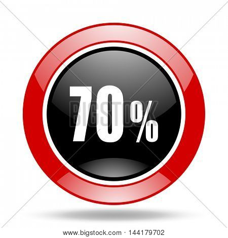 70 percent round glossy red and black web icon
