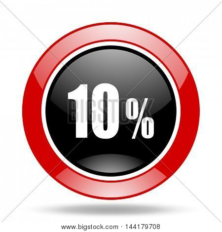 10 percent round glossy red and black web icon