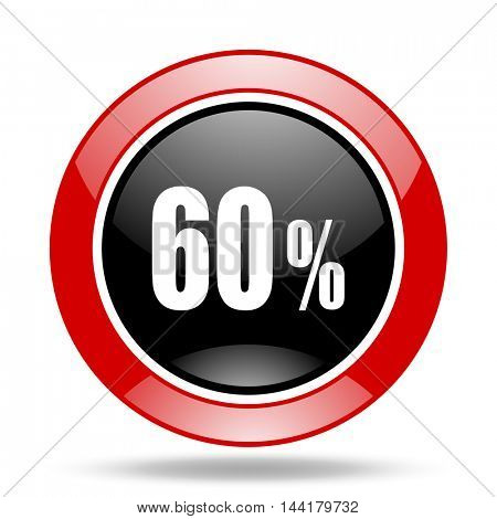 60 percent round glossy red and black web icon