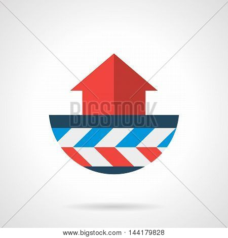 Abstract symbol of heat convection with red up arrow. Model of underfloor heating with layers. Modern style flat colored vector icon.