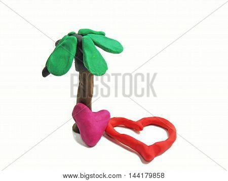 Two Red Hearths Made From Plasticine