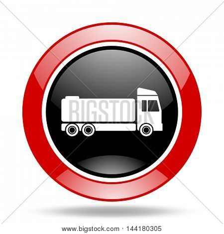 truck round glossy red and black web icon