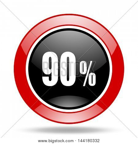 90 percent round glossy red and black web icon
