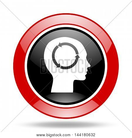 head round glossy red and black web icon