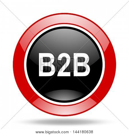 b2b round glossy red and black web icon