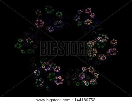 Fractal abstraction, a colorful wreath of small flowers on a black background