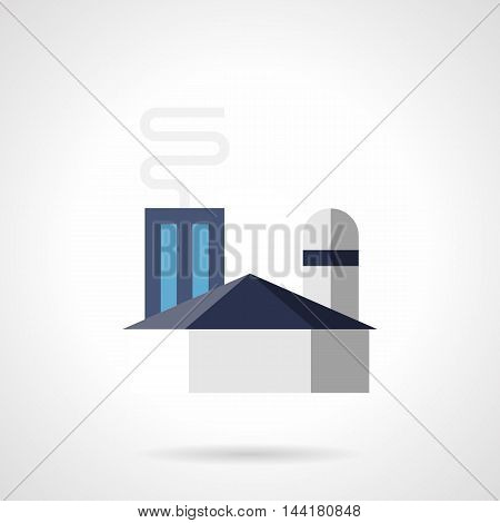 Abstract blue sign for glass factory. Industrial plants and other facilities. City architecture exterior. Flat color style vector icon.