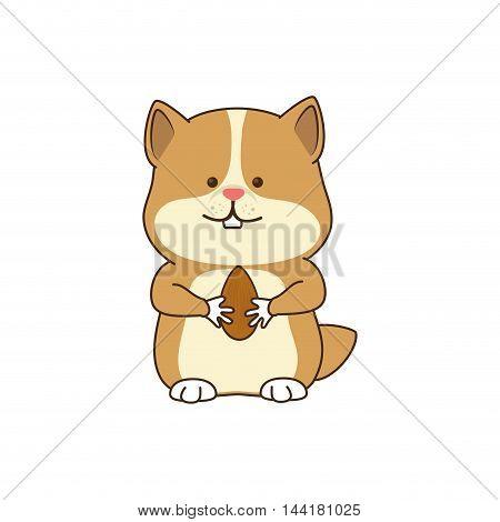 squirrel chipmunk holding a nut wildlife animal vector illustration