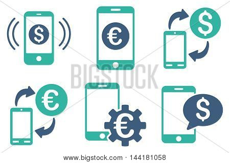 Mobile Banking vector icons. Pictogram style is bicolor cobalt and cyan flat icons with rounded angles on a white background.