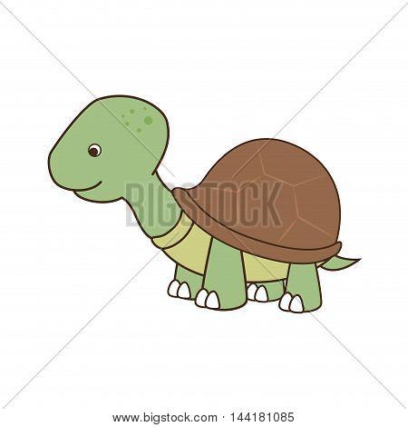 cute turtle tortoise pet animal green vector illustration