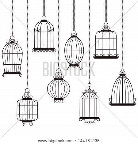 Vector hand drawn black and white bird cages