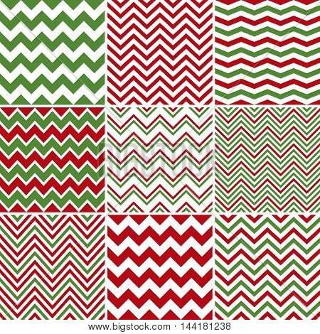 Vector Christmas red and green chevron seamless patterns