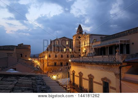 The baroque town of Noto Sicily Italy a Unesco World Heritage site. Before the Sunset