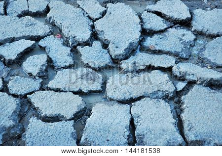 water in the cracks after the heat