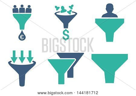 Sales Funnel vector icons. Pictogram style is bicolor cobalt and cyan flat icons with rounded angles on a white background.