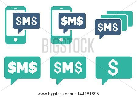 SMS Messages vector icons. Pictogram style is bicolor cobalt and cyan flat icons with rounded angles on a white background.