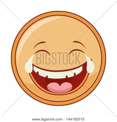 emoticon cartoon expression of feelings and emotions laugh vector illustration