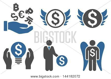 Angel Investor vector icons. Pictogram style is bicolor cobalt and gray flat icons with rounded angles on a white background.