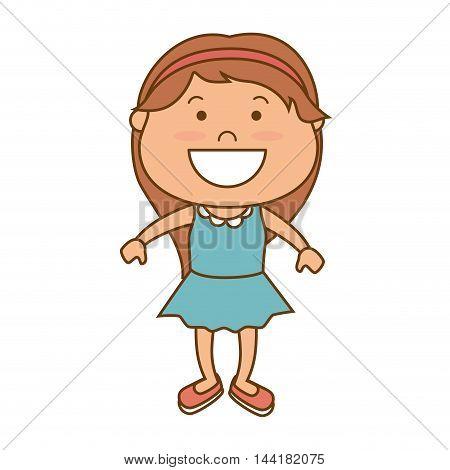 little girl smiling smile hapiness kid child cute fun vector illustration