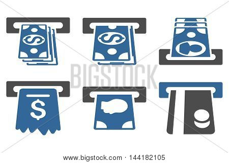 ATM Cashpoint vector icons. Pictogram style is bicolor cobalt and gray flat icons with rounded angles on a white background.