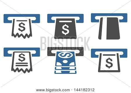 Automated Cashier vector icons. Pictogram style is bicolor cobalt and gray flat icons with rounded angles on a white background.
